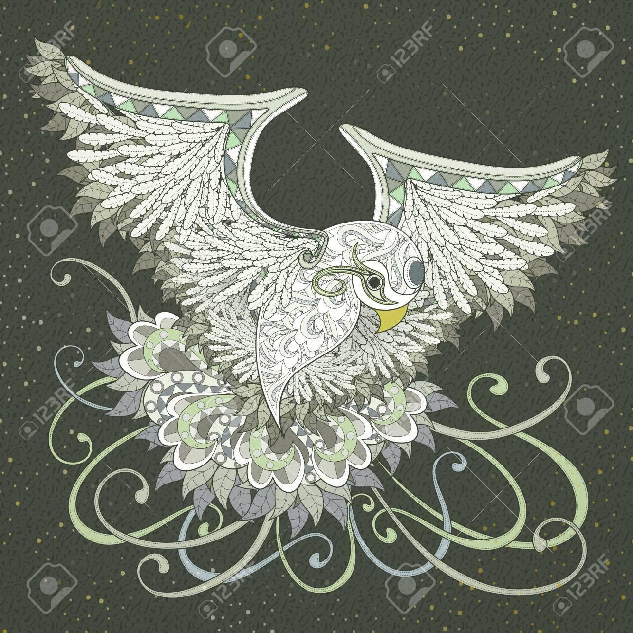 Elegante Diseño De Páginas Para Colorear Pájaro Que Vuela En Un ...