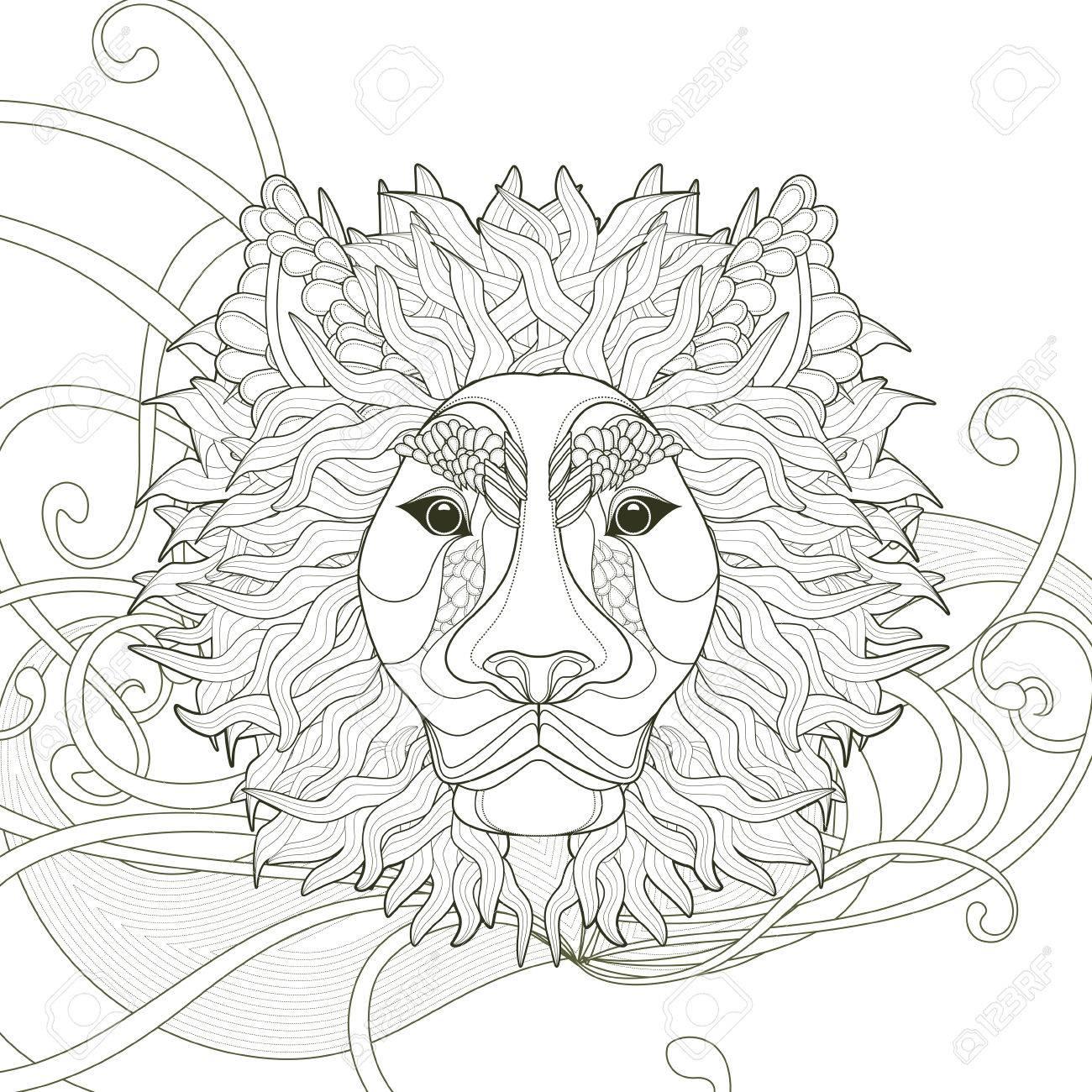 Diseño De Páginas Para Colorear León Majestuoso En Un Estilo ...