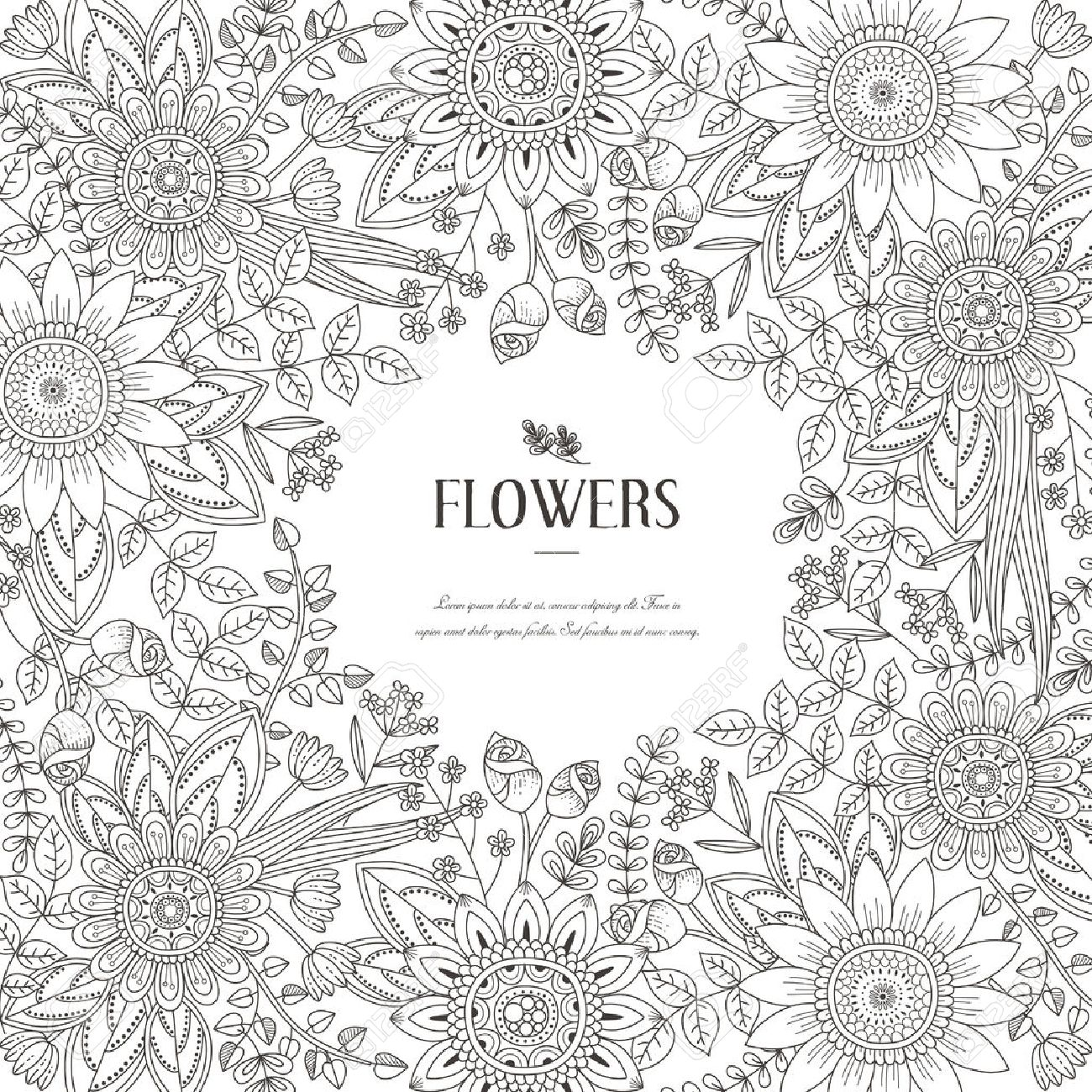 Splendid Flower Frame Coloring Page In Exquisite Style Stock Vector