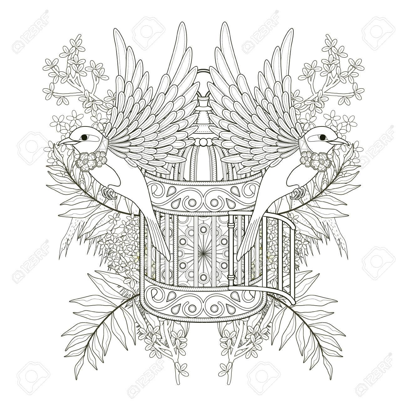 Cheerful Bird Coloring Page Design In Exquisite Style Stock Vector