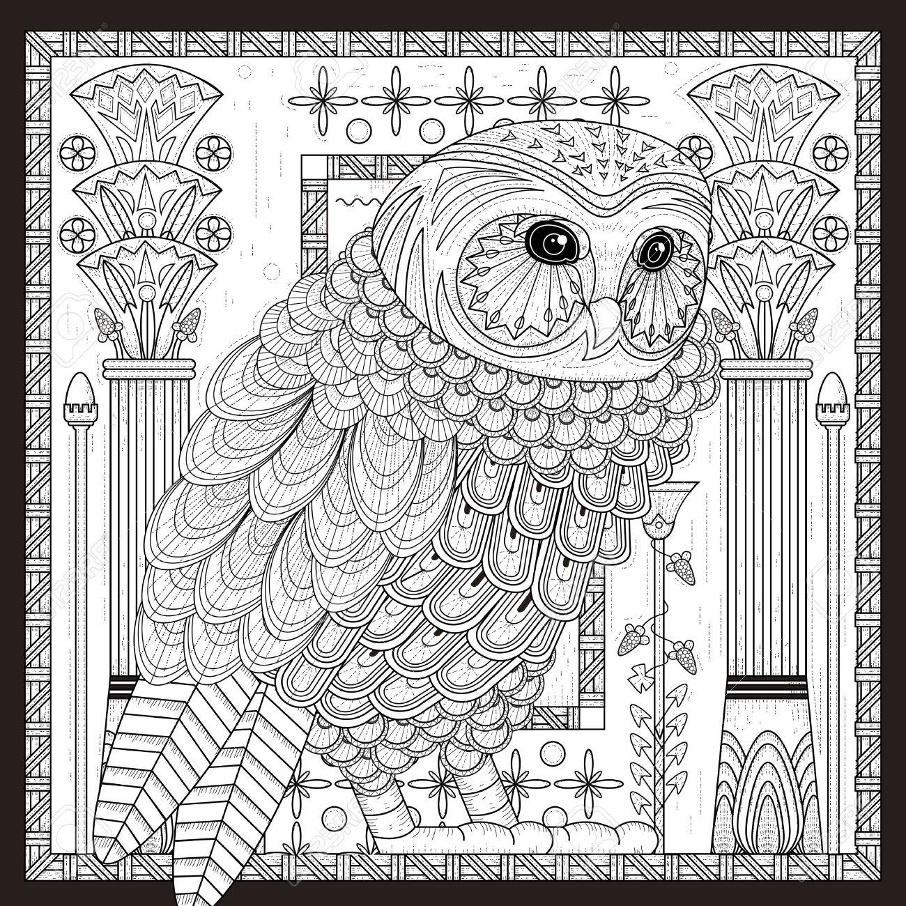 Búho Espléndida Página Para Colorear Diseño En Estilo Egipto ...