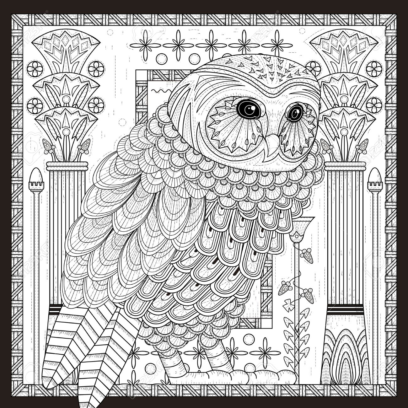 splendid owl coloring page design in egypt style royalty free