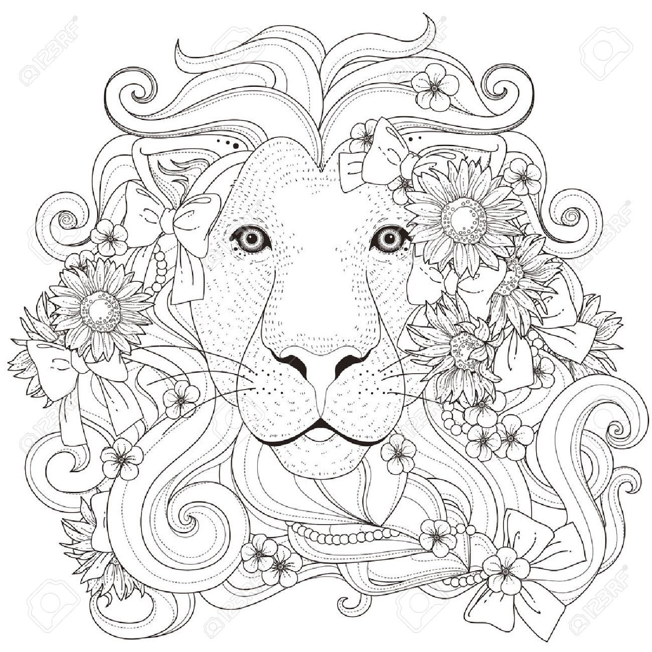 Lovely Lion With Flowers Coloring Page In Exquisite Style Stock Vector