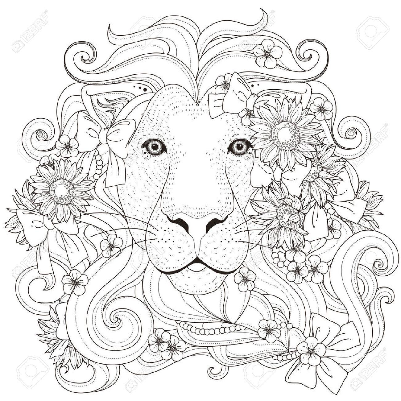 Schöne Löwe Mit Blumen Malvorlagen Im Exquisiten Stil Lizenzfrei