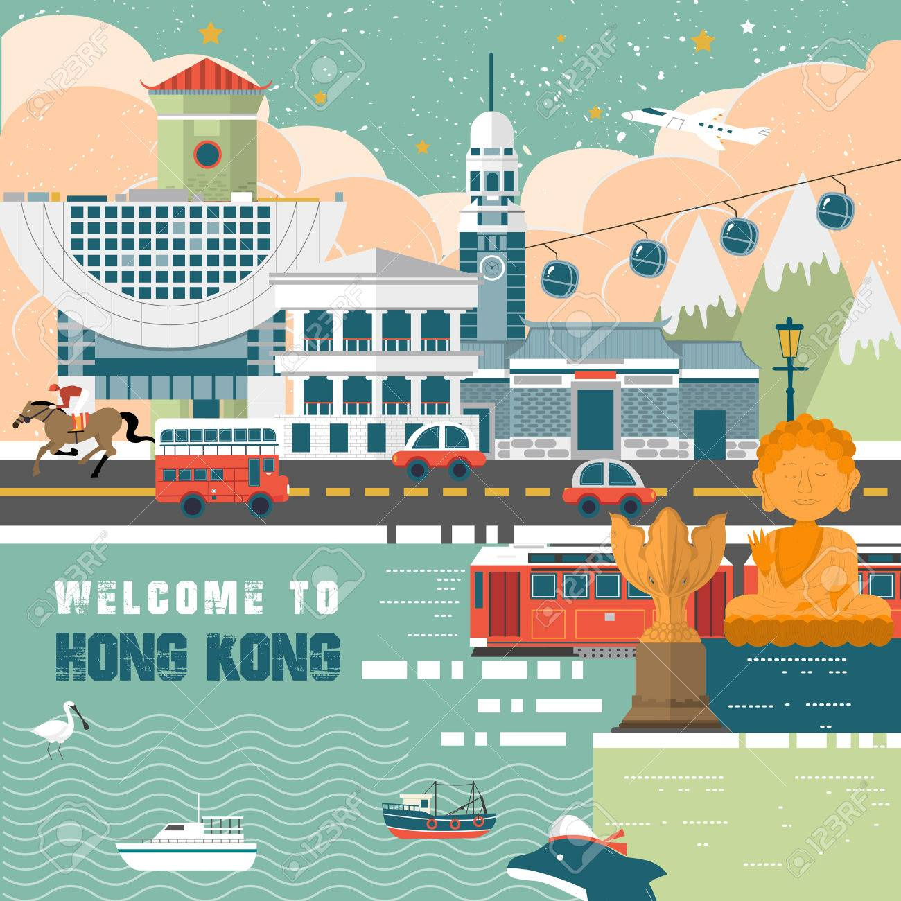 Poster design hong kong - Vector Attractive Hong Kong Travel Concept Poster In Flat Design Style