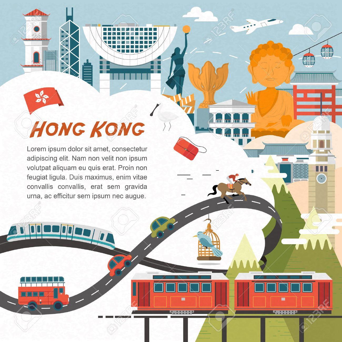 Poster design hong kong - Poster Design Hong Kong Vector Attractive Hong Kong Travel Concept Poster In Flat Design