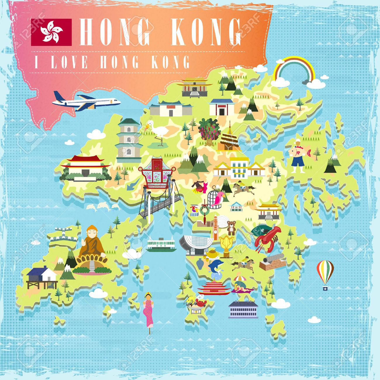 I Love Hong Kong Concept Travel Map With Attractions Icons In