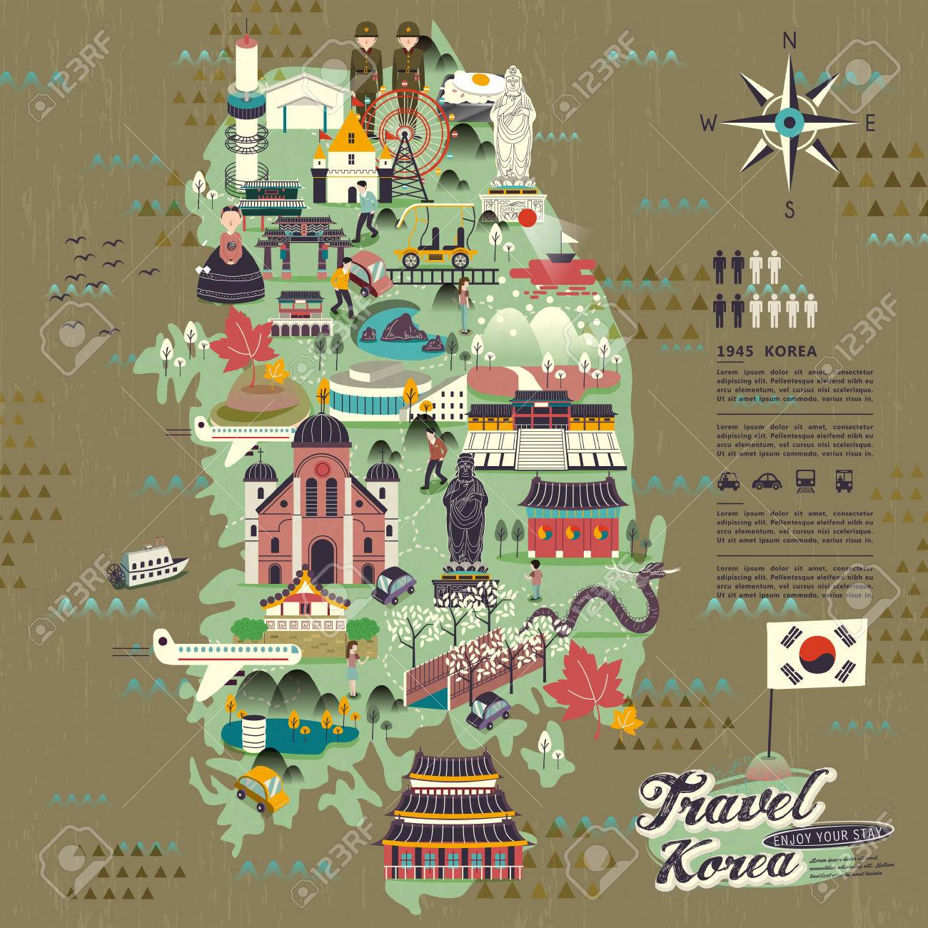 Wonderful South Korea Travel Map With Attractions Design Royalty - Map of south korea
