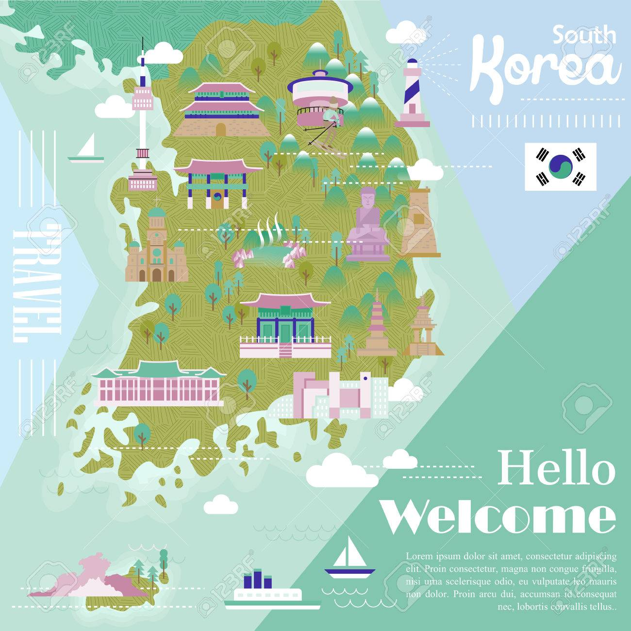 Adorable South Korea Travel Map With Colorful Attractions Royalty
