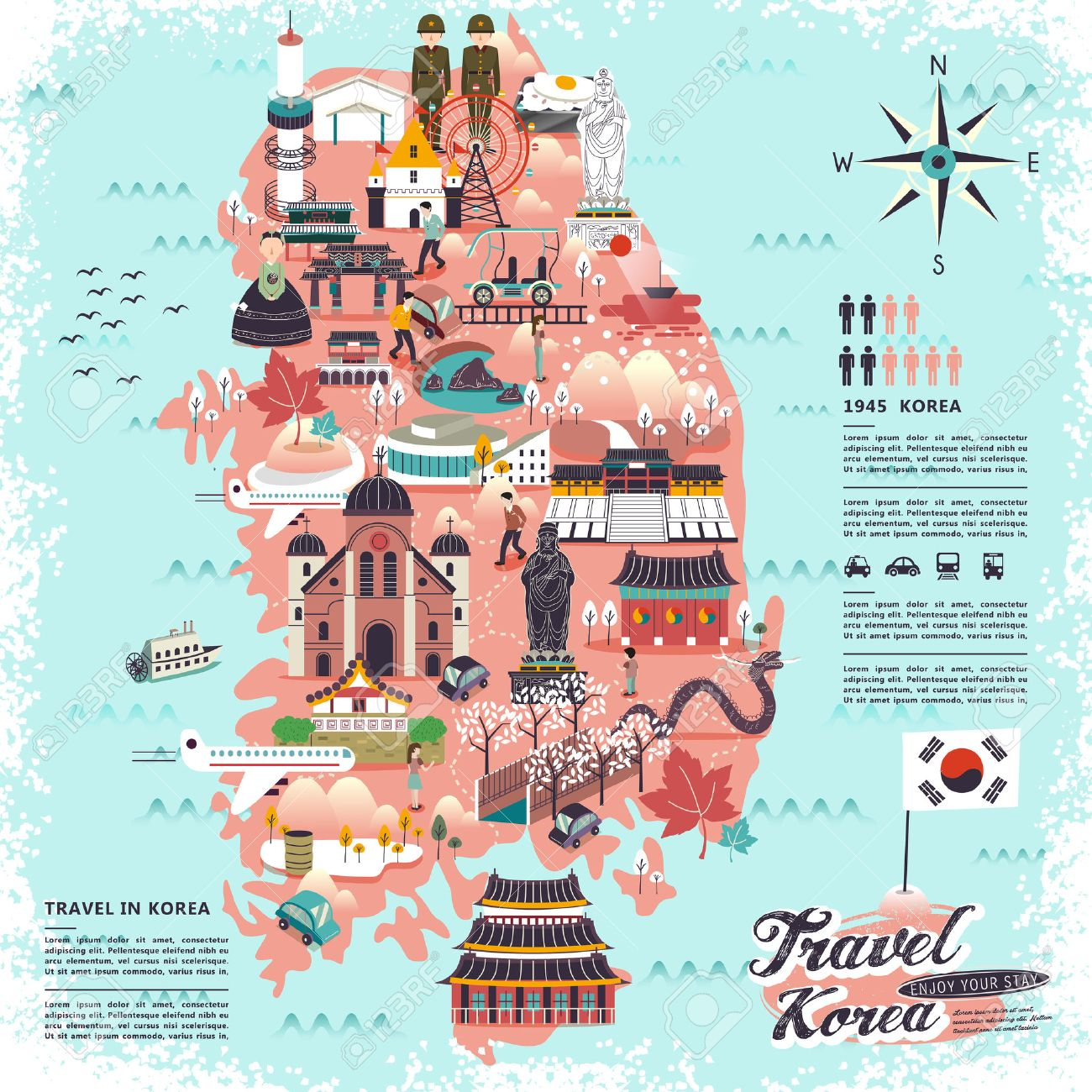 Wonderful South Korea Travel Map With Attractions Design Royalty