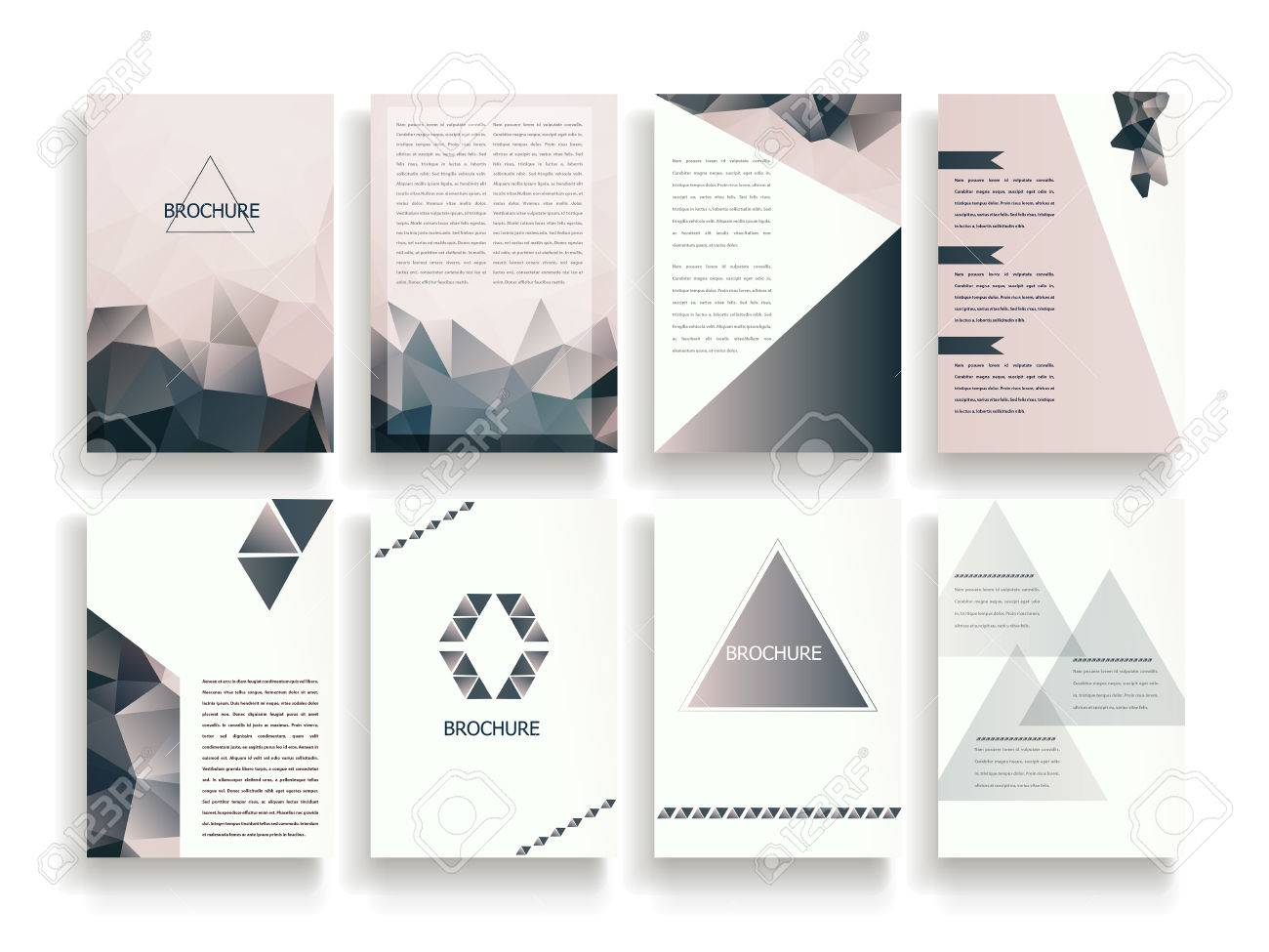 Elegant Brochure Template Design Set With Translucent Polygon
