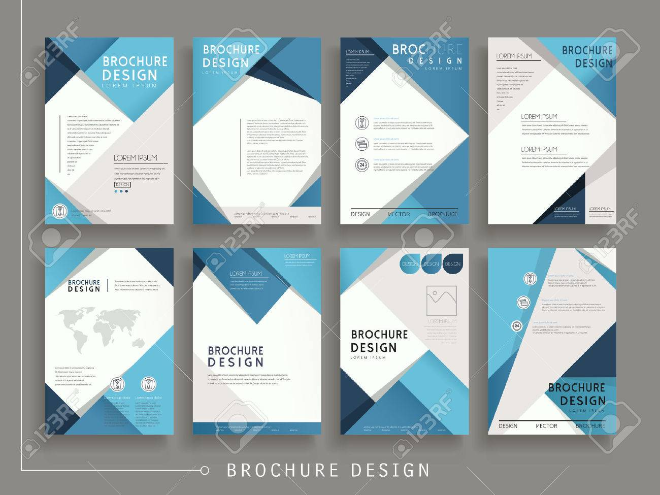 Modern Brochure Design | Modern Brochure Template Design Set With Geometric Elements In