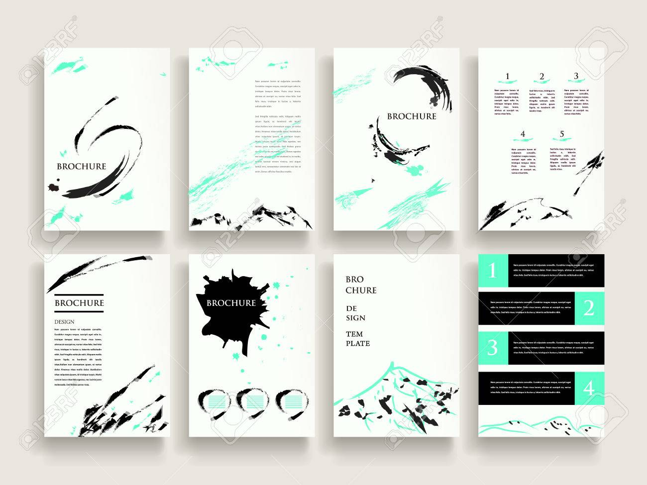 Elegant Brochure Template Design Set With Brush Stroke Elements