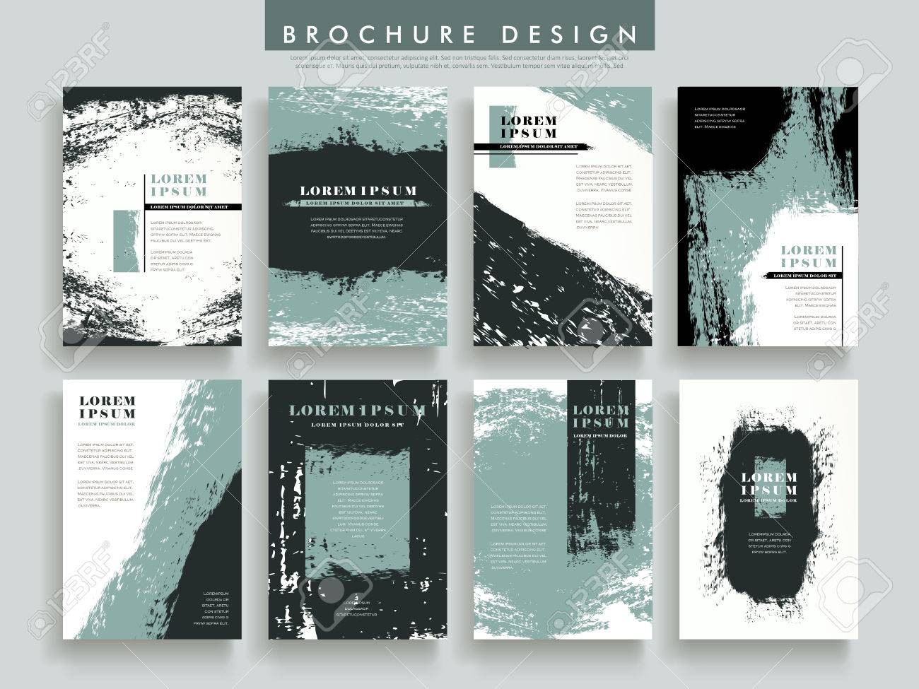 Creative Brochure Template Design Set With Brush Stroke Elements - Hp brochure templates