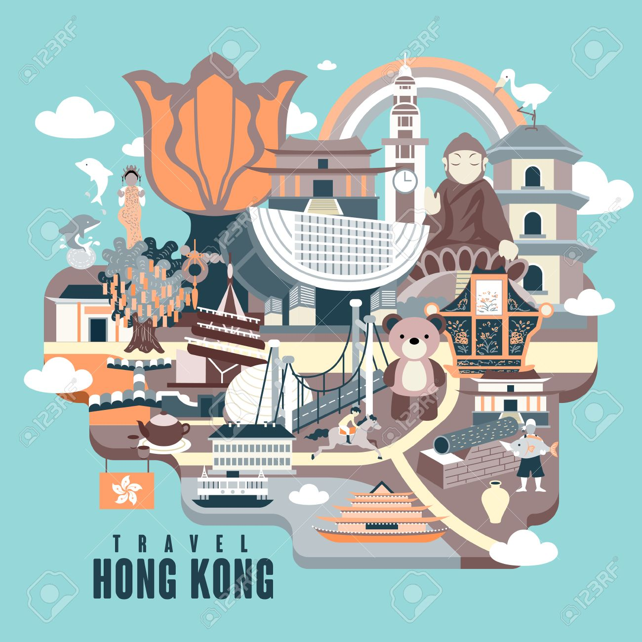 Poster design hong kong - Hong Kong Travel Poster Design With Attractions In Flat Style Stock Vector 48057898