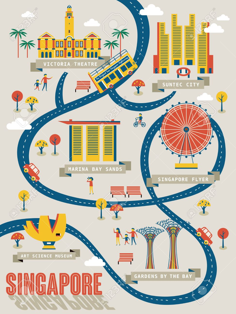 Singapore Travel Map With Lovely Attractions In Flat Design – Singapore Tourist Map
