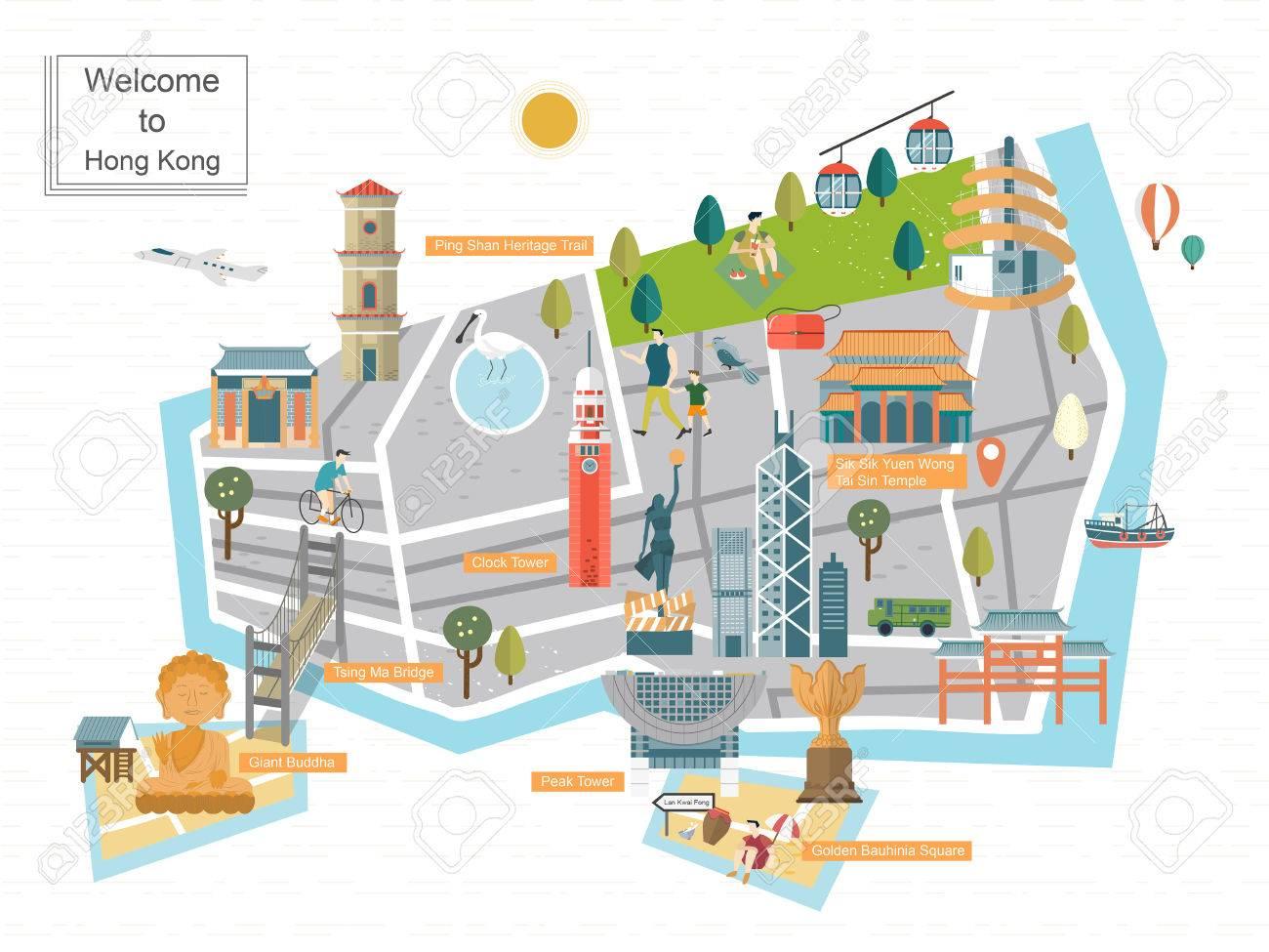 おしゃれな香港旅行フラット デザインのコンセプト マップ ロイヤリティ