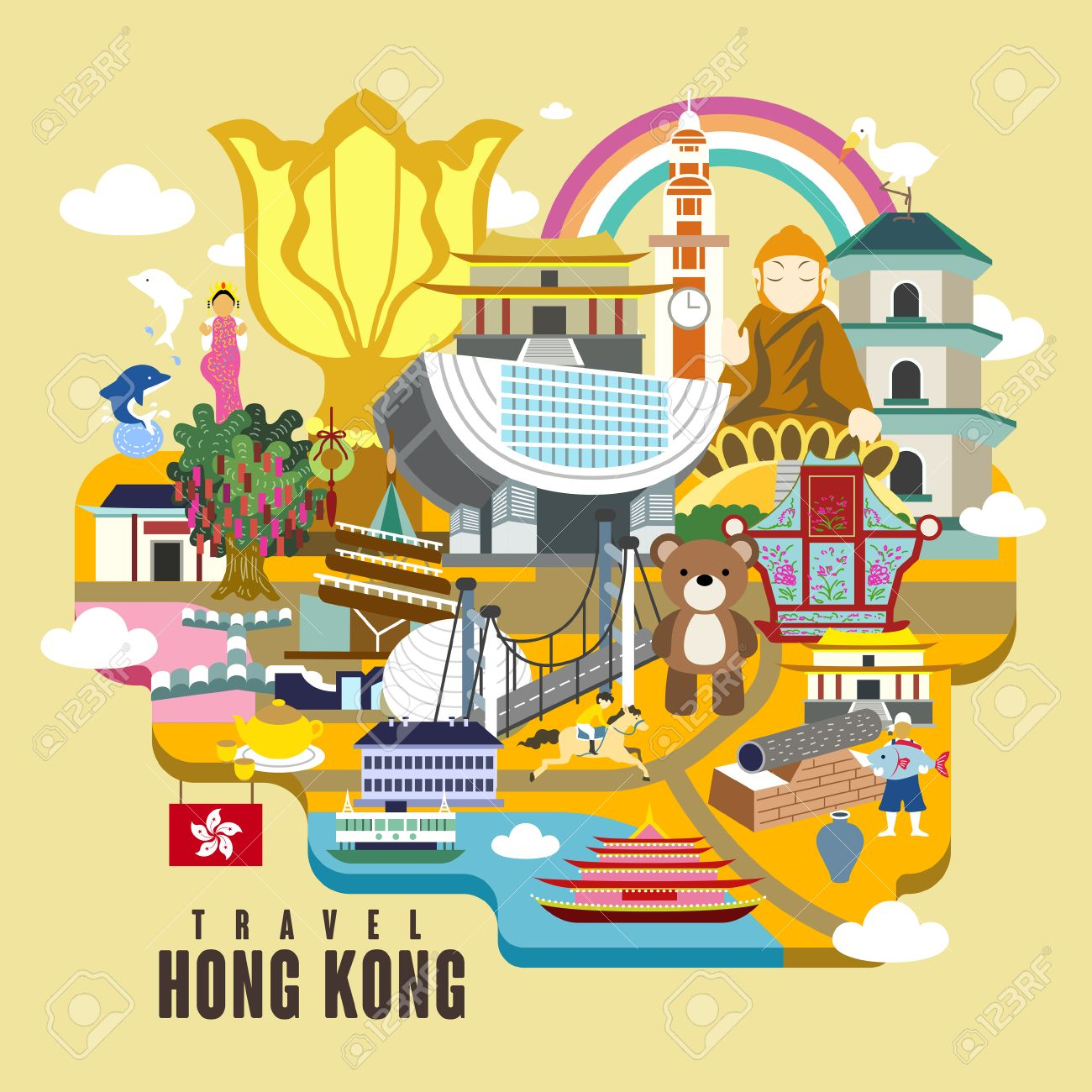 Poster design hong kong - Hong Kong Travel Poster Design With Attractions In Flat Style Stock Vector 48059245