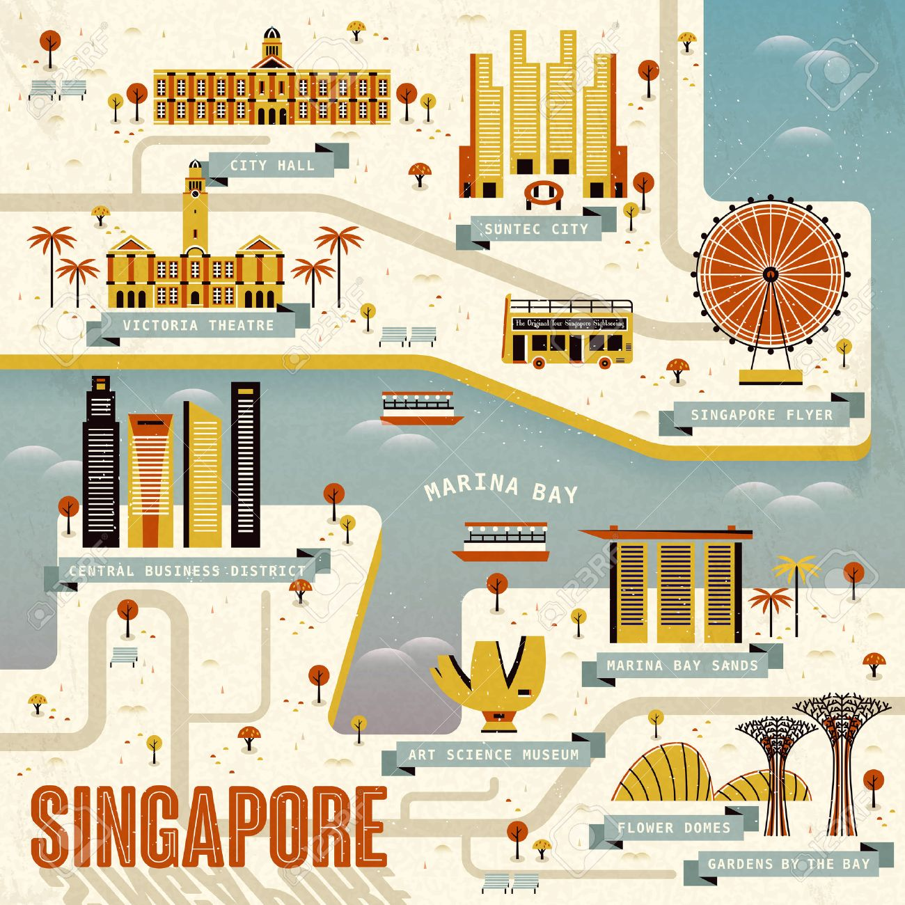 Singapore Marina bay travel map in flat design Stock Vector - 48059520