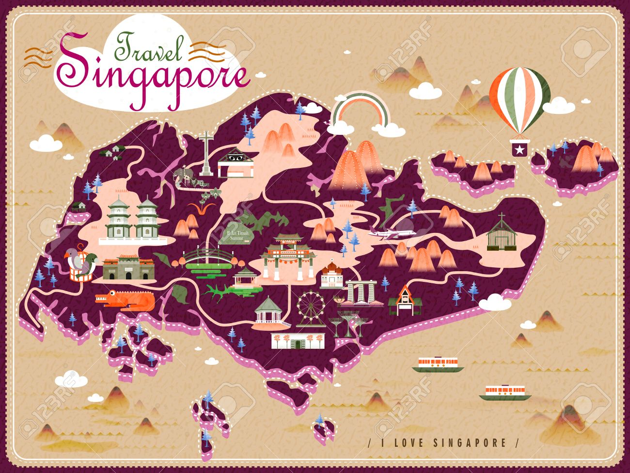 Singapore Travel Map With Lovely Attractions In Flat Design – Singapore Tourist Attractions Map
