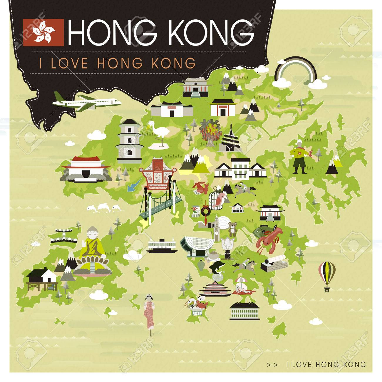 Hong Kong Travel Map With Attractions In Flat Design Royalty Free
