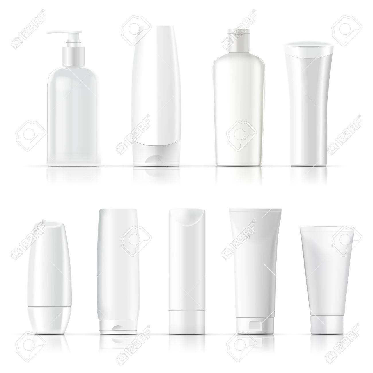 1e89bcb13a5e9 Blanco conjunto de recopilación paquete cosmético aislado en el fondo  blanco Foto de archivo - 48374025