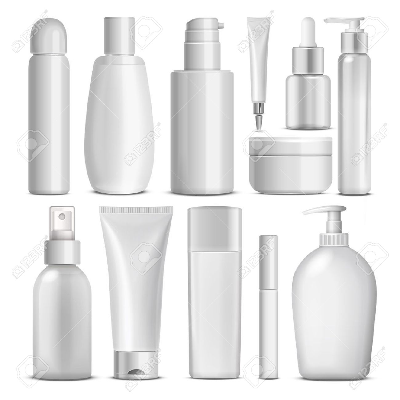 blank cosmetic package collection set isolated on white background - 48356400
