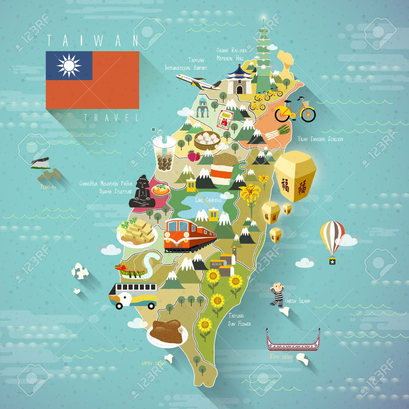 Lovely Taiwan Travel Map Blessing Word In Chinese On The – Taiwan Map For Tourist
