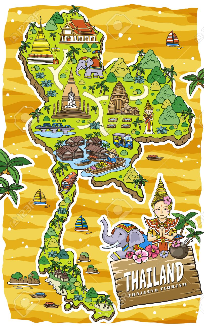 Adorable Thailand Travel Concept Map In Hand Drawn Style Royalty