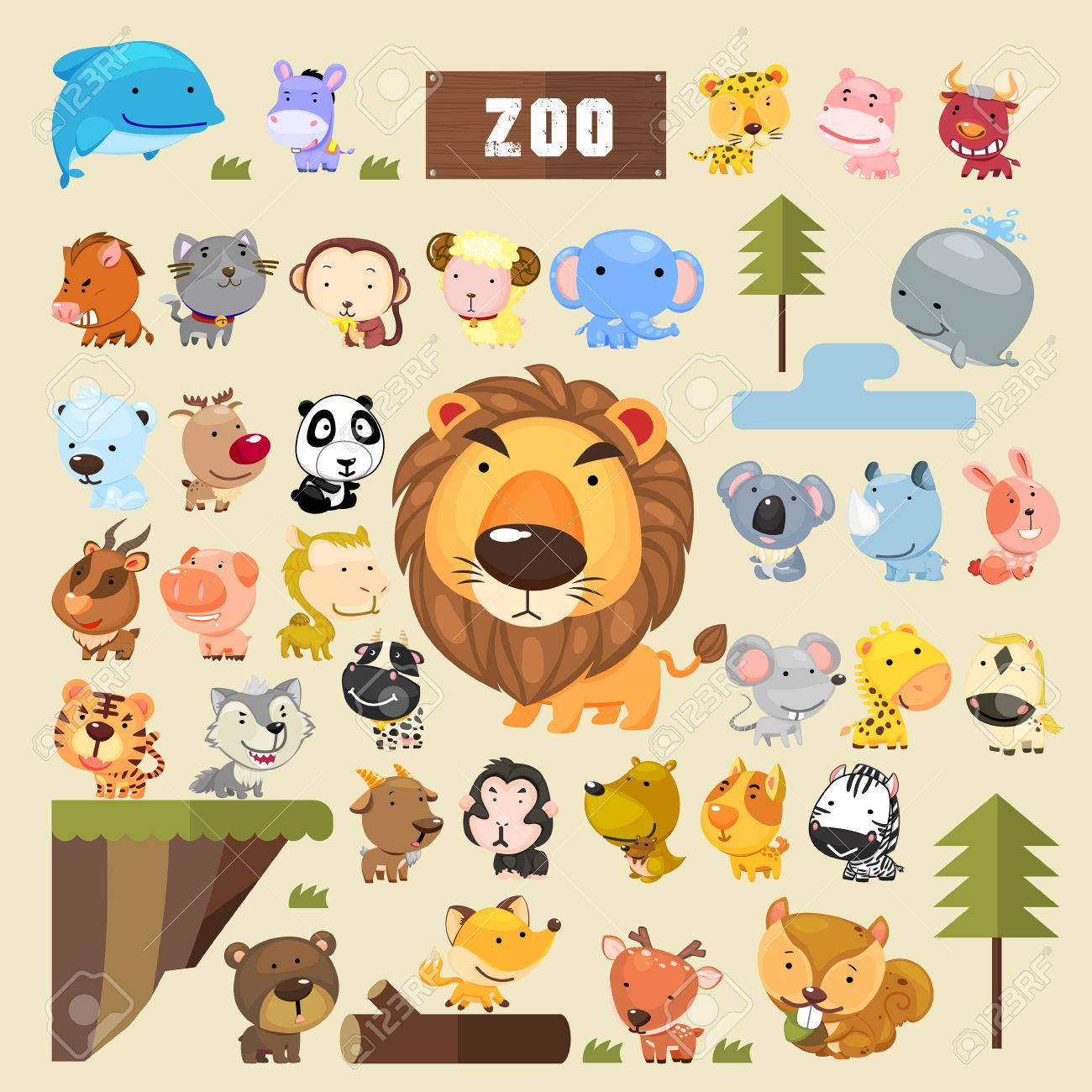 adorable animals collection set in cartoon style Stock Vector - 49327984