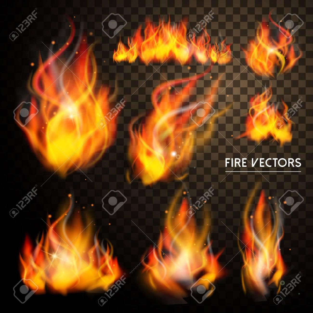 elegant flame elements collection set over transparent background - 49327944
