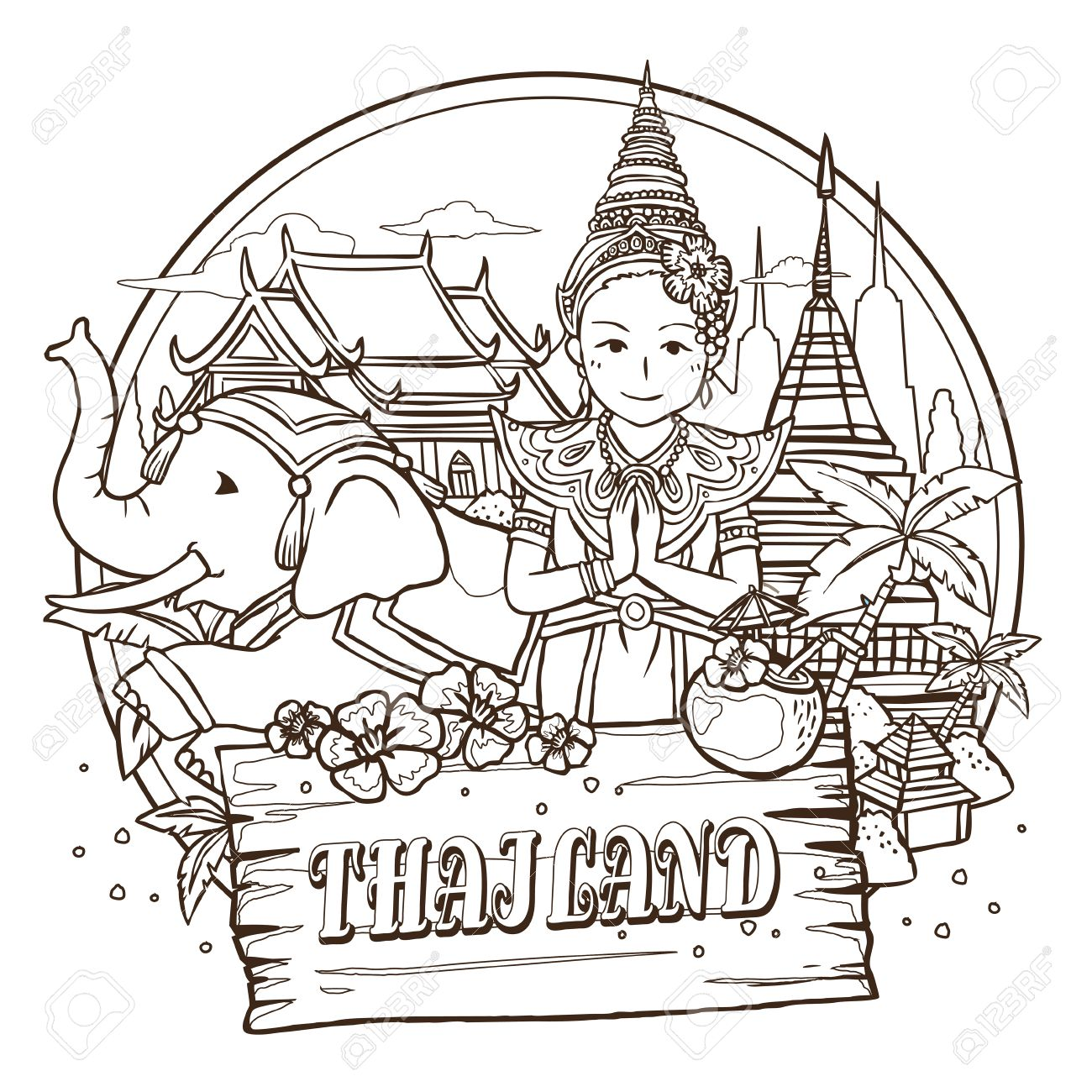 The coloring book tour opener - Best Tour Adorable Thailand Travel Concept Poster In Hand Drawn Style