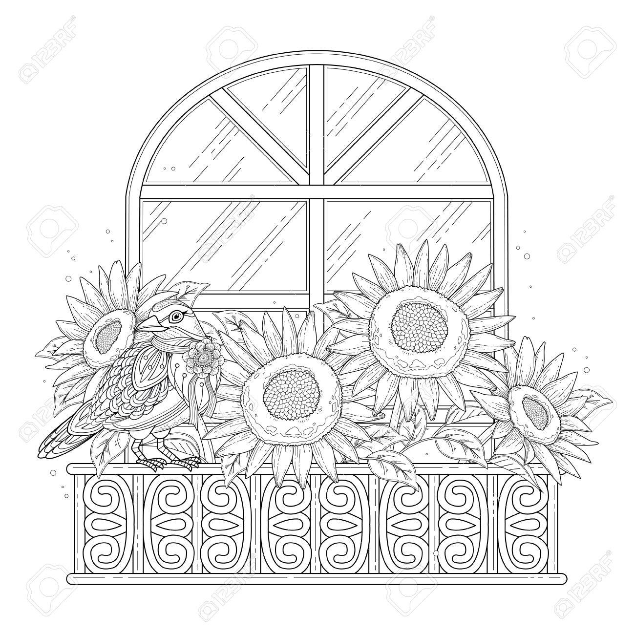 beautiful sunflowers coloring page with floral elements in exquisite..