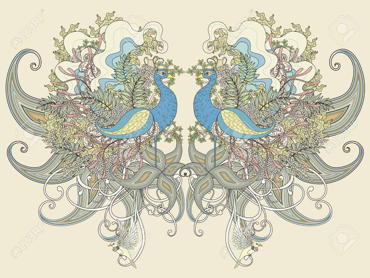 Beautiful Peacock Coloring Page With Floral Elements In Exquisite ...