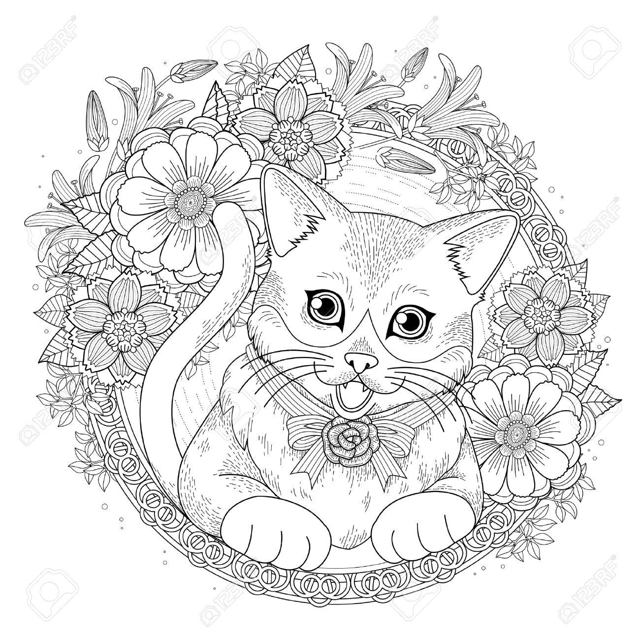 Coloriage Chat Avec Des Fleurs.Coloriage Chat En Ligne Des Milliers De Coloriage Imprimable