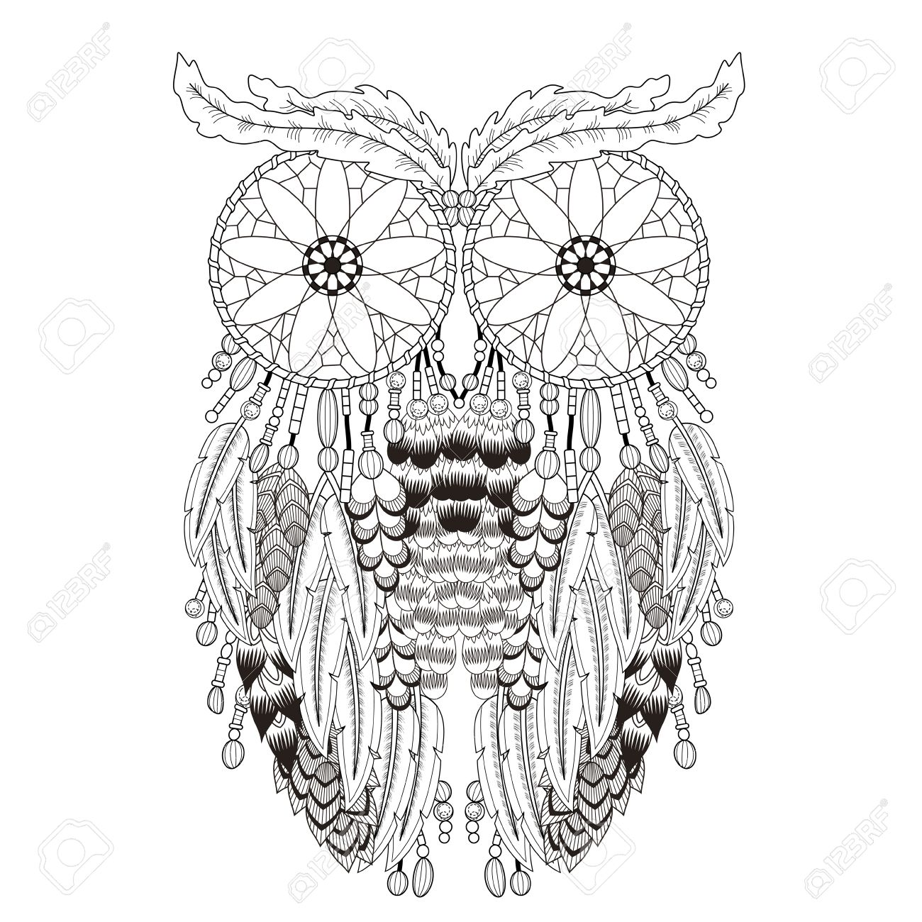 breathtaking owl coloring page with dream catchers in exquisite