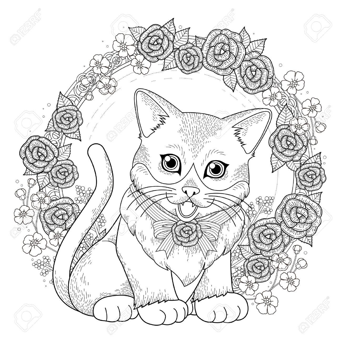 Adorable Gatito Para Colorear Con Corona De Flores En Línea ...