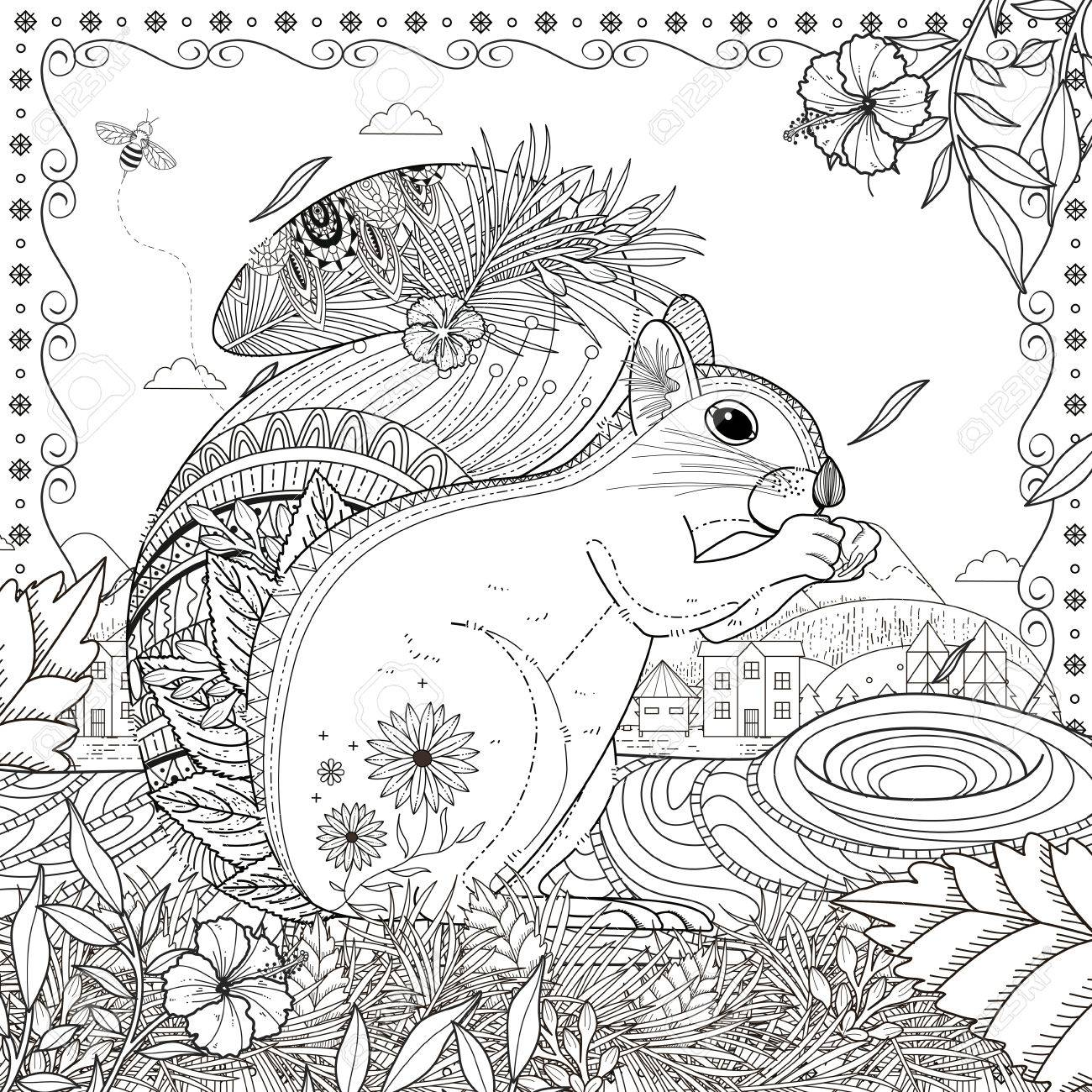 Adorable Squirrel Coloring Page In Exquisite Line Royalty Free ...