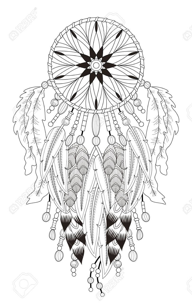 Attractive Dream Catcher Coloring Page With In Exquisite Line Stock Vector