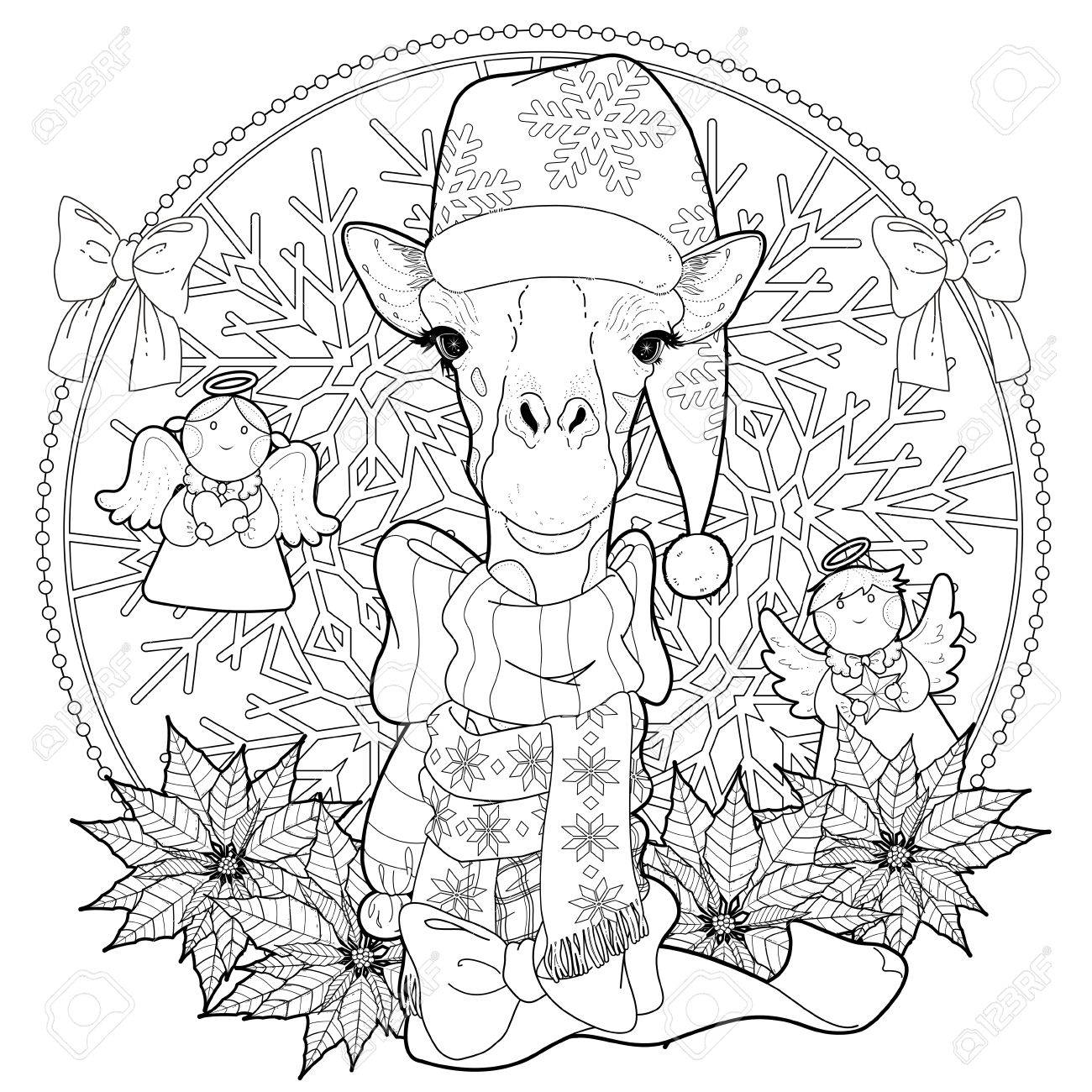 christmas giraffe coloring page with decorations in exquisite