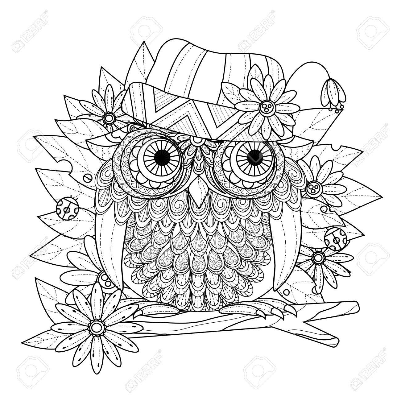 Lovely Owl Coloring Page In Exquisite Line Stock Vector