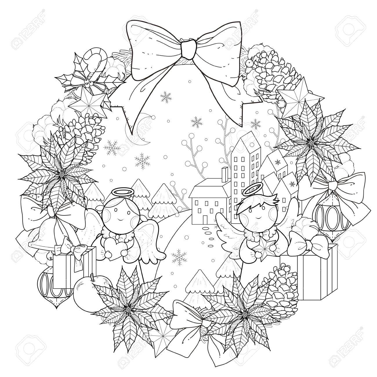 christmas wreath coloring page with decorations in exquisite line stock vector 49729252
