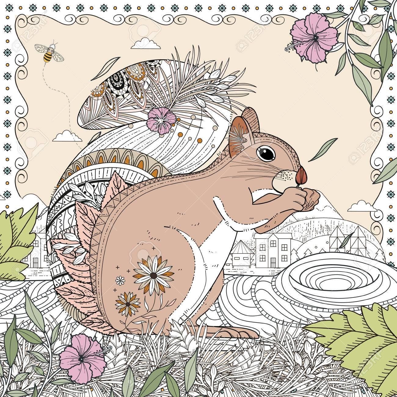 Adorable Eichhörnchen Ausmalbilder In Exquisite Linie Lizenzfrei