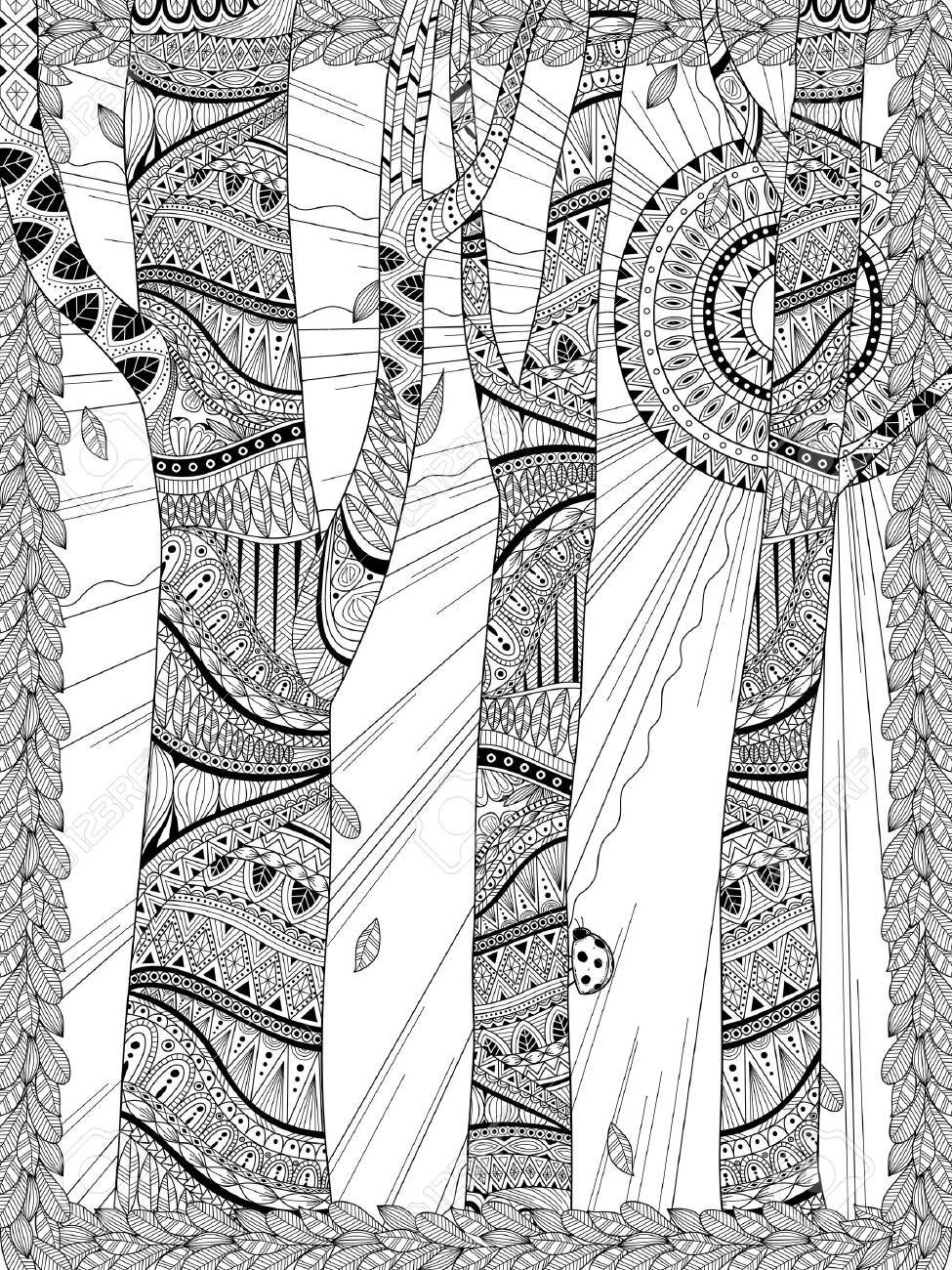 Mysterious Forest Coloring Page In Exquisite Line Royalty Free ...