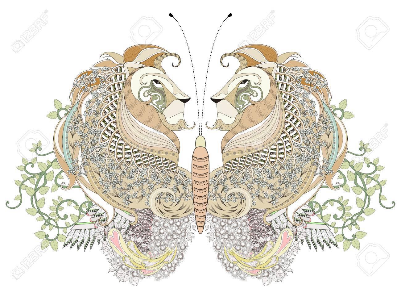 Kreative Schmetterling Färbung Seite Mit Floralen Elementen In ...