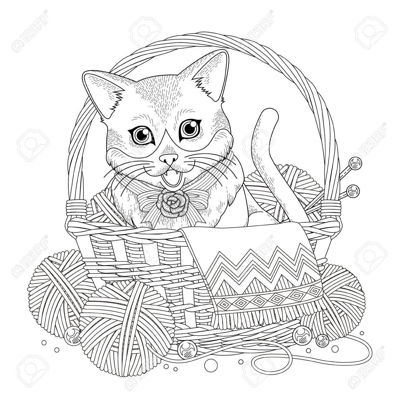 Gatito Adorable En La Página Para Colorear Cesta En Línea Exquisita ...