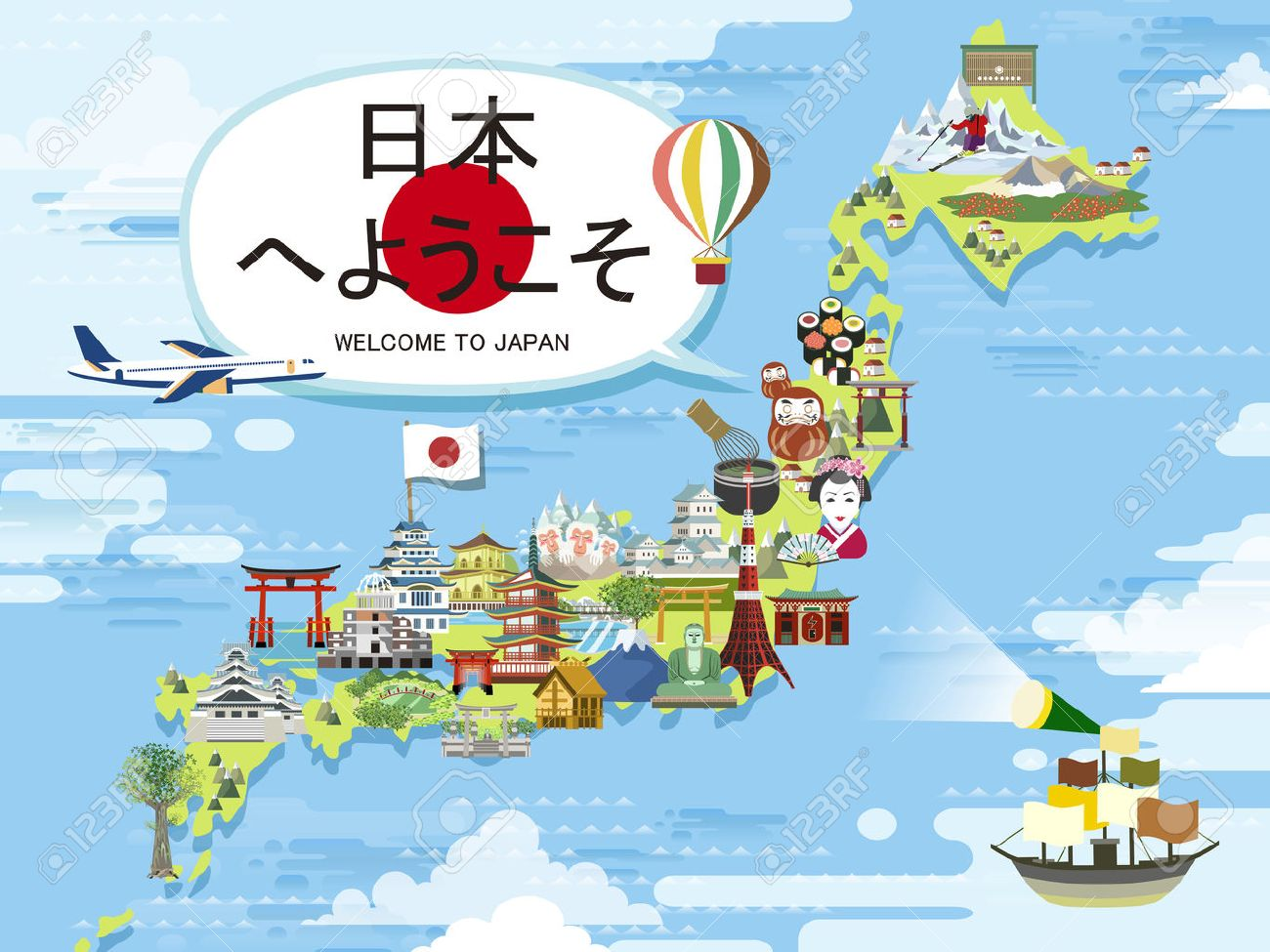 attractive Japan travel map design - Welcome to Japan in Japanese words - 50046035