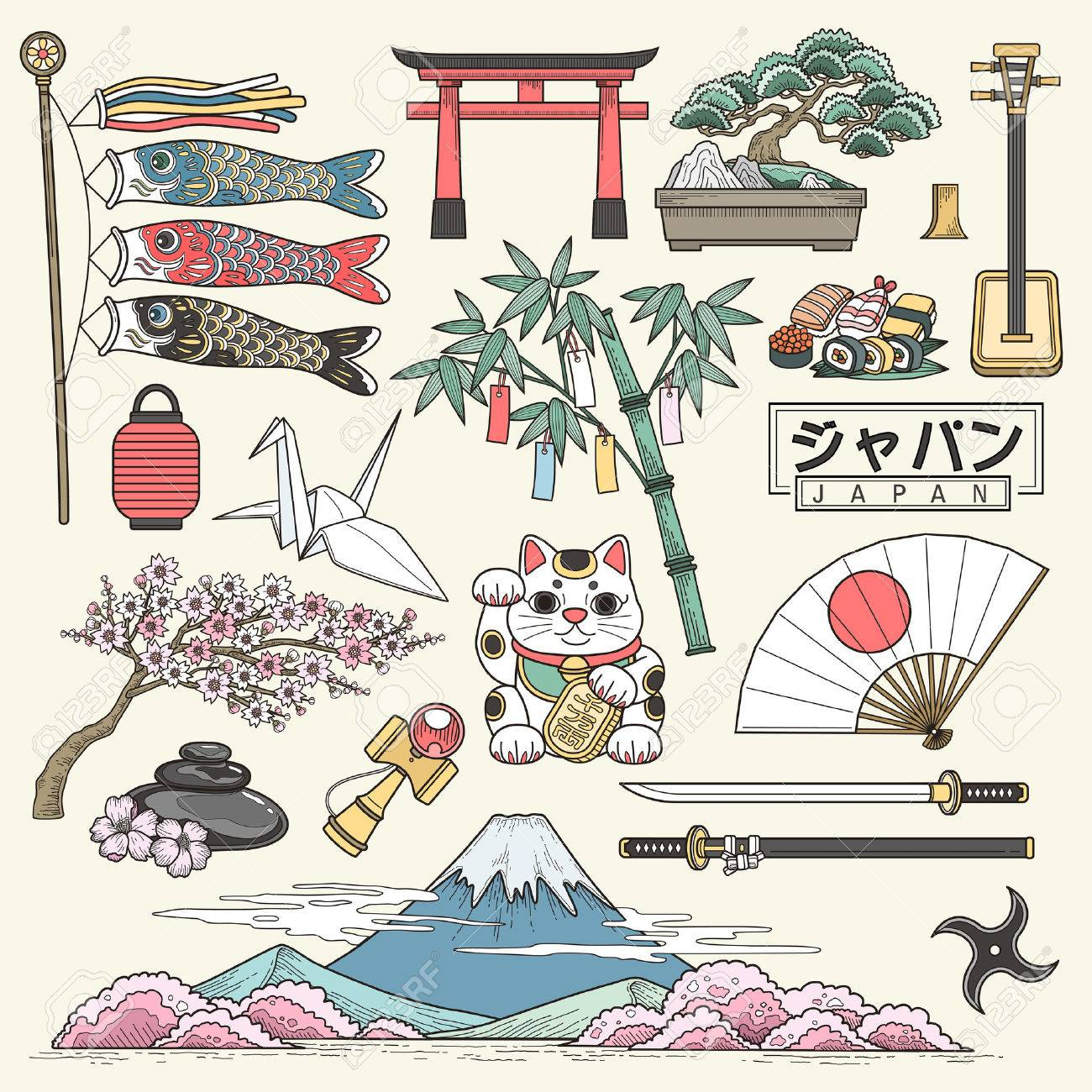 exquisite Japan travel elements collection in line style - Japan country name in Japanese words - 50046082