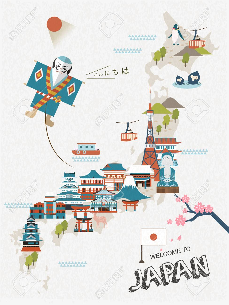 Poster design japan - Lovely Japan Travel Poster Design With Attractions Stock Vector 50046087