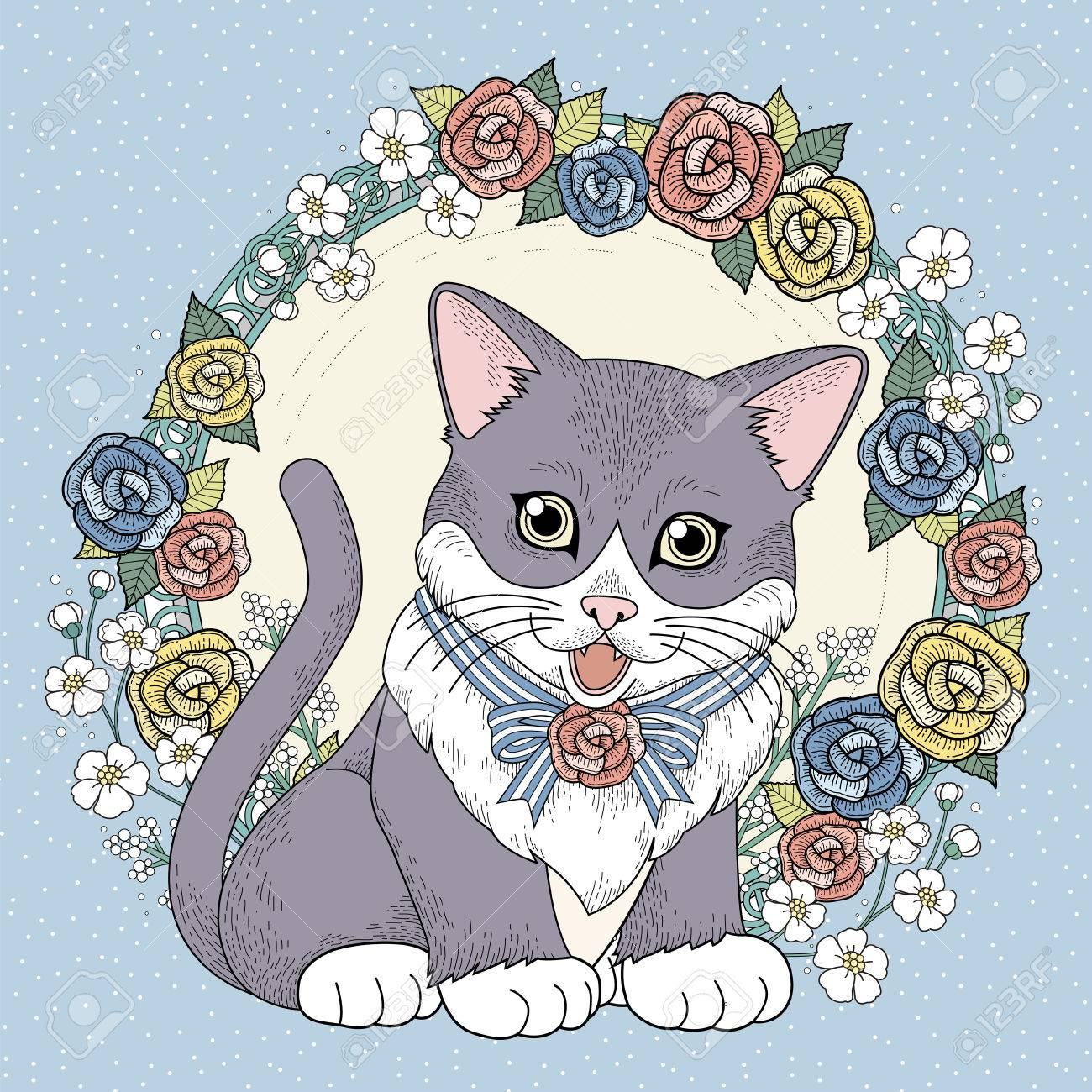 Adorable Kitty Coloring Page With Floral Wreath In Exquisite Line Stock Vector